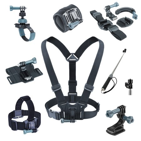 8 PIECE Professional Action Mount Bundle by USA Gear (Chest Mount, Helmet Mount, Wrist Mount and More!) - For GoPro HERO 5 4 3 , Sony 4K Action Camera FDR-X1000V , HTC RE Camera and More