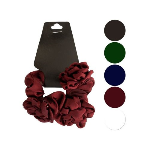 Bulk Buys Chiffon Hair Twister with Ruffle Flower Accents, Case of 24