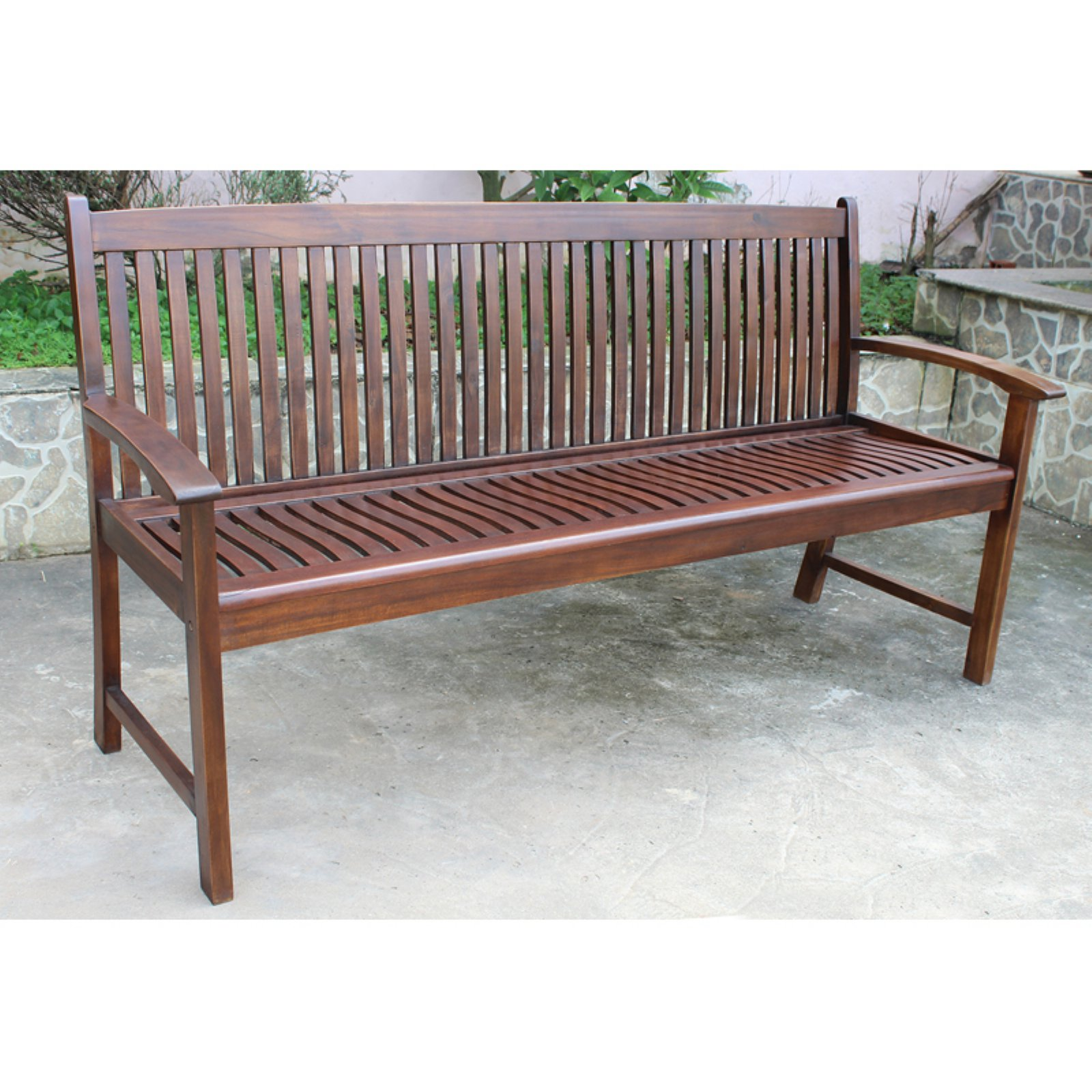 International Caravan Highland Slatted Outdoor 3-Seater 65 in. Patio Bench by Overstock