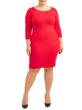 Women's Plus Size Long Sleeve Boat Neck Fitted Dress