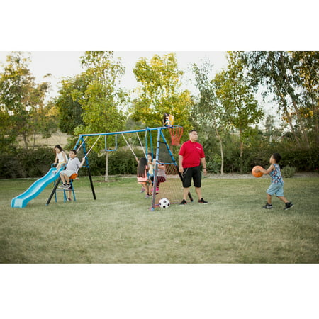 Kiss Metal (FITNESS REALITY KIDS 7 Station Sports Series Metal Swing Set with Basketball and Soccer )