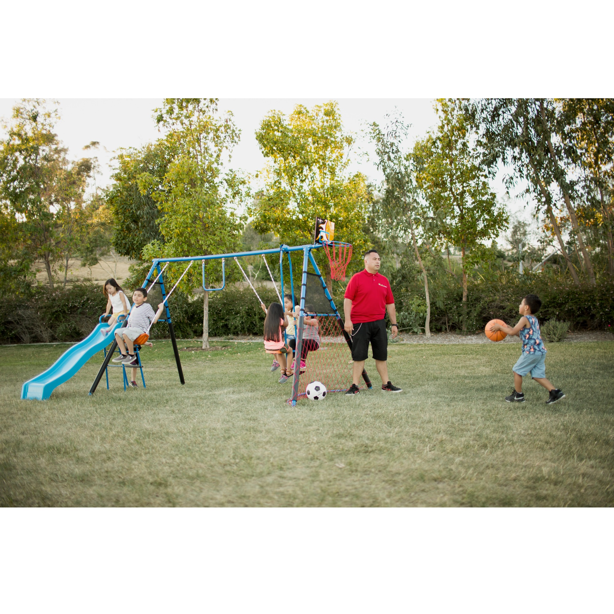 FITNESS REALITY KIDS 7 Station Sports Series Metal Swing Set with Basketball and Soccer