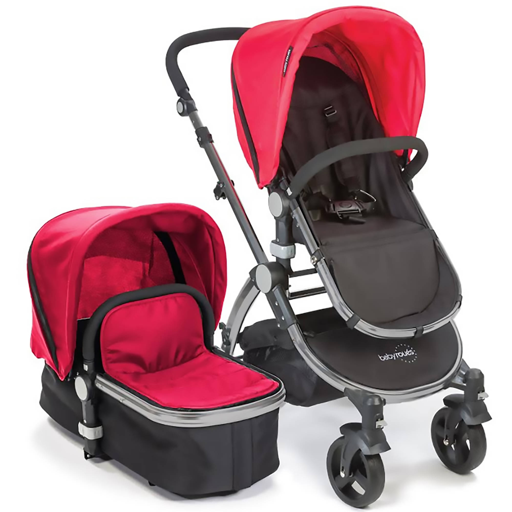 Babyroues Letour II Stroller with Bassinet Silver Frame, Red Fabric