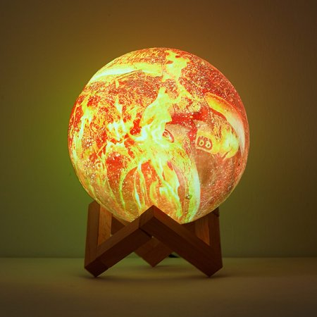Urban Shop 3D Print Color Changing Moon Lamp with Wood Stand, remote control and USB Adaptor, 7.5'' x 5.5'', Sun