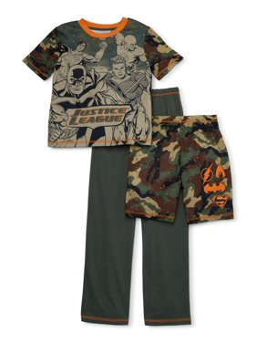 Justice League Boys 4-12 Heroes, 3-Piece Pajama Sleep Set