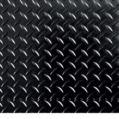 "G-Floor 95 Mil RaceDay Diamond Tread Peel and Stick Tile 12"" x 12"" Midnight Black, 20-Pack"