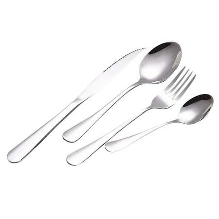 Magik 4Pcs Flatware Rainbow Dinnerware Stainless Steel Tableware Set for  Dinner Steak Soup Tea Fork Spoon Knife (Silver, 4)