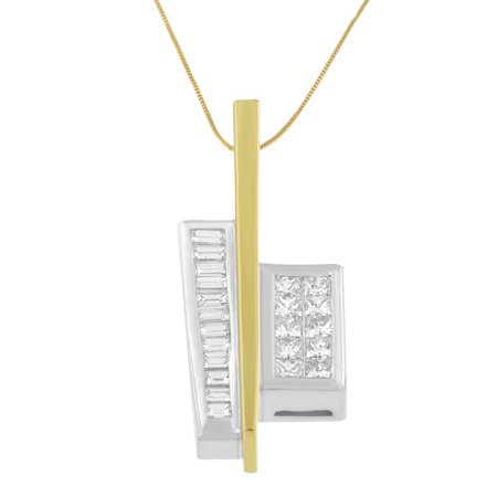 18k Two Toned Gold 1 7/8ct TDW Princess Baguette Diamond Pendant Necklace (H-I, SI1-SI2)