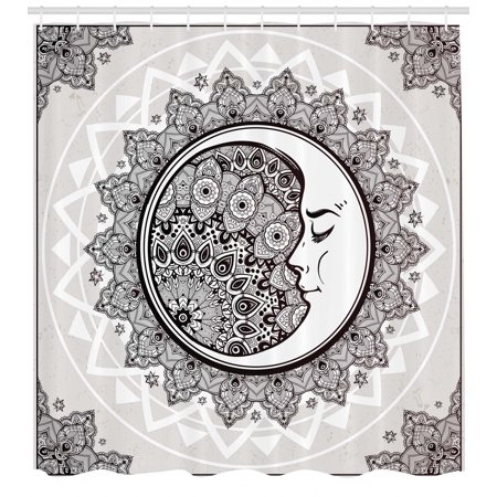 Mystic Shower Curtain Ornate Crescent Moon With Stars And Mandala Asian Eastern Spiritual Graphic