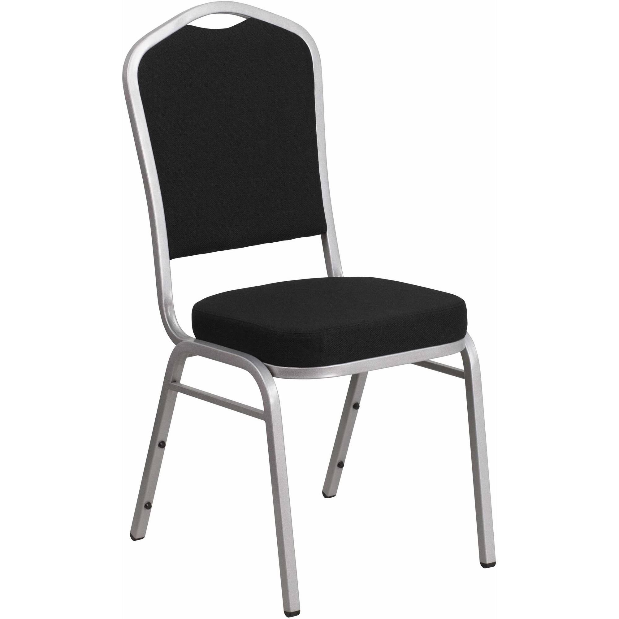 Flash Furniture HERCULES Series Crown Back Stacking Banquet Chair with Fabric and 2.5'' Thick Seat, Silver Frame, Multiple Colors