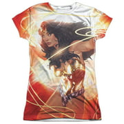 Jla - Wonder Glow - Juniors Cap Sleeve Shirt - Medium
