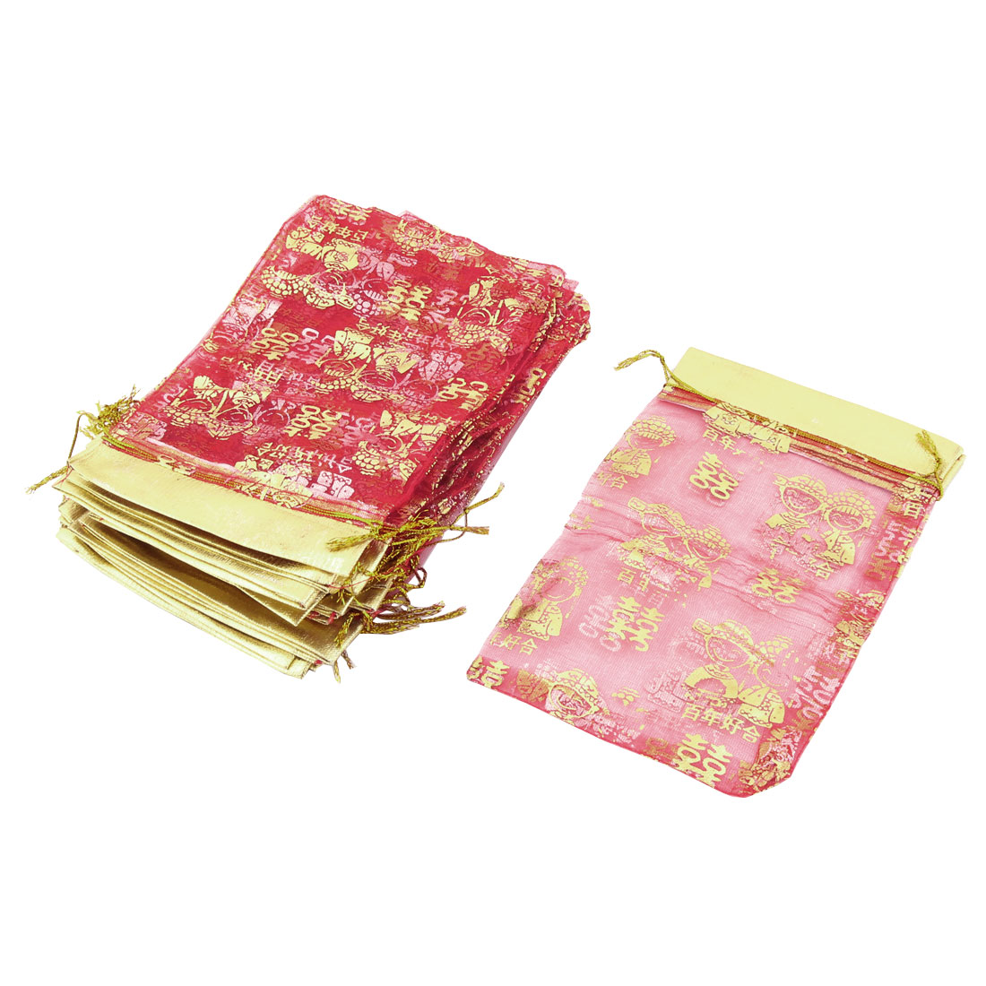 Double Happiness Pattern Drawstring Candy Pouch Organza Gift Bag 25 Pcs