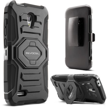 Alcatel OneTouch Conquest Case, Evocel [Belt Clip Holster] [Kickstand] [Dual Layer] New Generation Phone Case for Alcatel OneTouch Conquest 7046T, Black (One Touch Alcatel 5 Phone Cases)