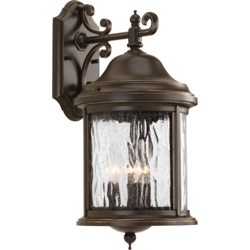 """Progress Lighting P5650 Ashmore 3 Light Outdoor Wall Sconce with Seedy Glass Shade - 17"""" Tall"""