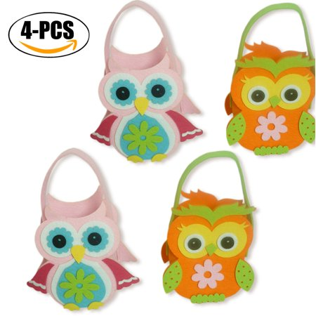 4pcs Easter Candy Bags Stylish Owl Top Handle Gift Tote