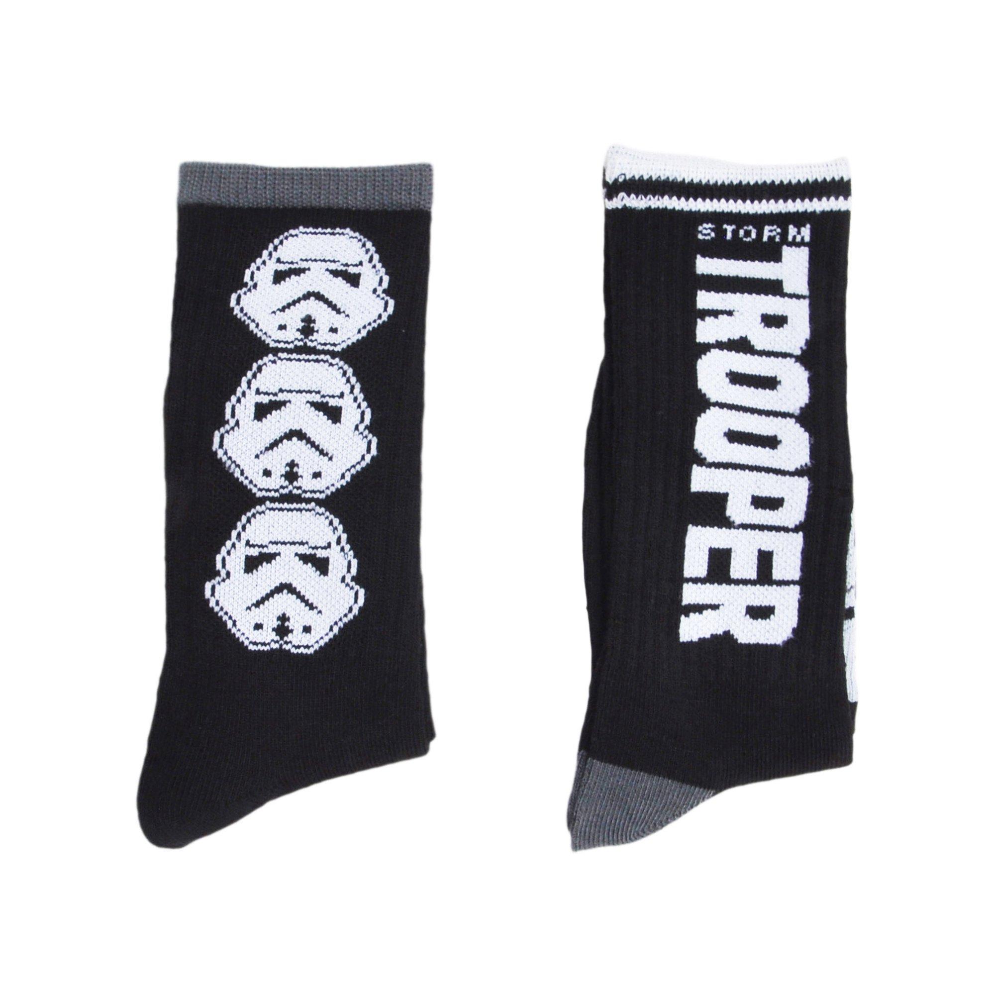 24787932b01 Boys Stormtrooper Crew Socks Black 2-PAIRS Trooper Print