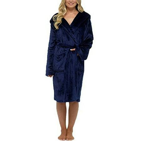 Julycc Womens Belted Hooded Plus Fleece Superminky Bath Robe Autumn Winter ()