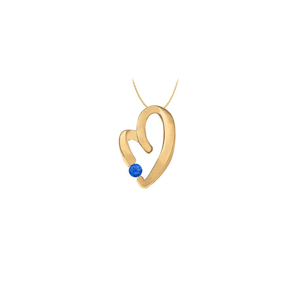 September Birthstone Sapphire Heart Pendant in Sterling Silver with Yellow Gold Vermeil 0.15 CT - image 2 de 2