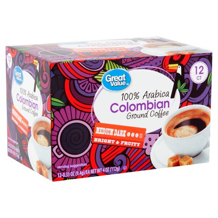Great Value 100% Arabica Colombian Coffee Pods, Medium-Dark Roast, 12