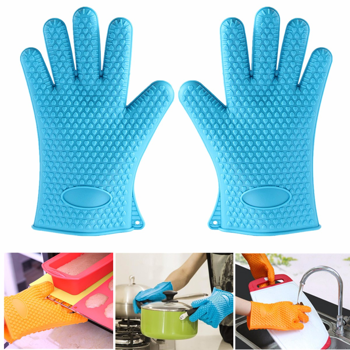 A Pair Silicone Heat Resistant Gloves BBQ Grilling Oven Mitts Pot Holders For Cooking Baking Kitchen