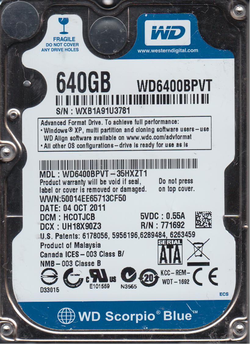 WD6400BPVT-35HXZT1, DCM HCOTJCB, Western Digital 640GB SATA 2.5 Hard Drive by Western Digital