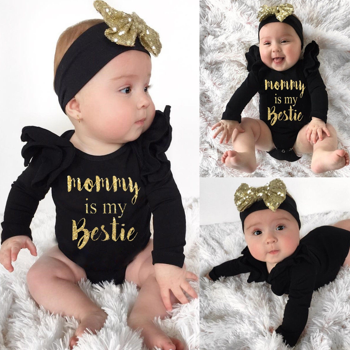 2Pcs Newborn Infant Baby Girls Bodysuit Romper Jumpsuit Outfits Clothes + Headband