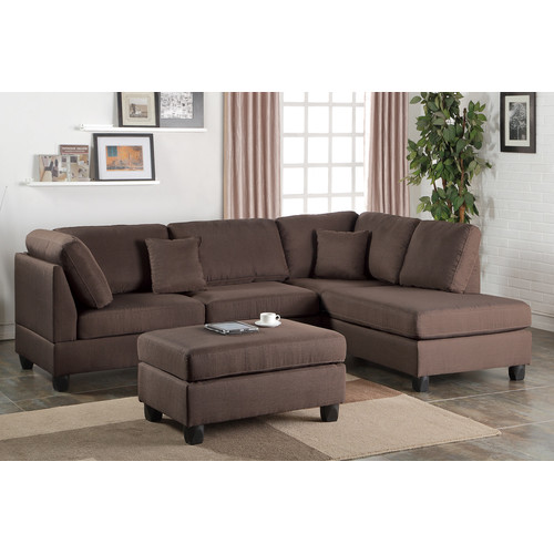 Bobkona Dervon Polyfabric Left or Right Hand Chaise Sectional with Ottoman Set, Multiple Colors by Poundex