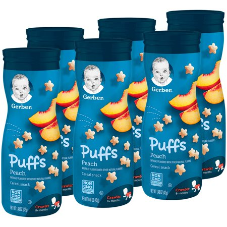 (6 Canisters) Gerber Puffs Peach, 1.48 oz. (Snacks For 1 Year Old Baby India)