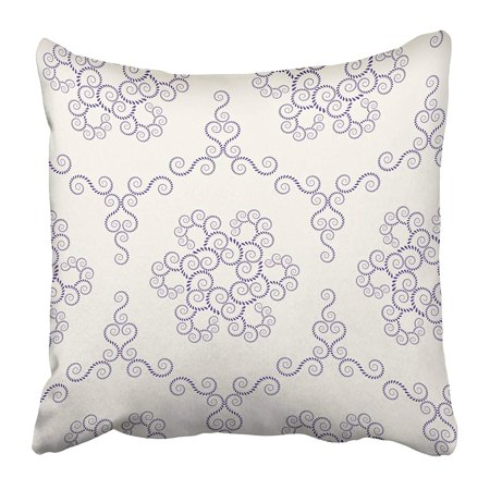 ARHOME Lace Vintage Spiral Floral Swirl of Laurel Leaves Dark Figure on Light Purple Pillow Case Cushion Cover 18x18 (Ralph Lauren Spring Lace)