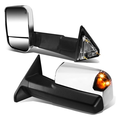 For 13-16 RAM 1500 2500 3500 Pair of Chrome Powered + Heated Smoked Signal Glass + Foldable Side Towing Mirrors 14 15
