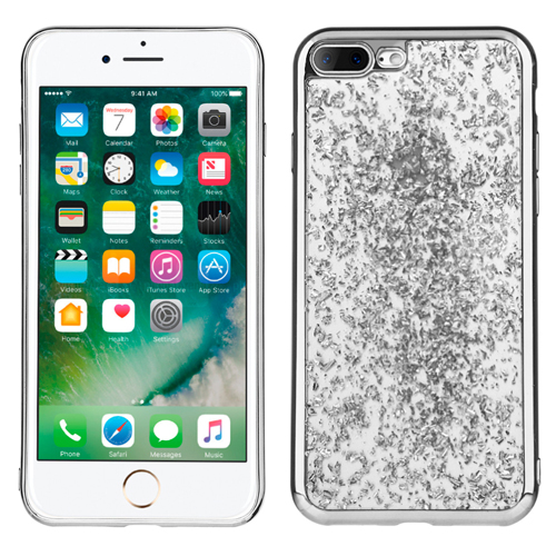 Silver Chrome Glitter Flakes Case For Apple iPhone 7 PLUS Phone