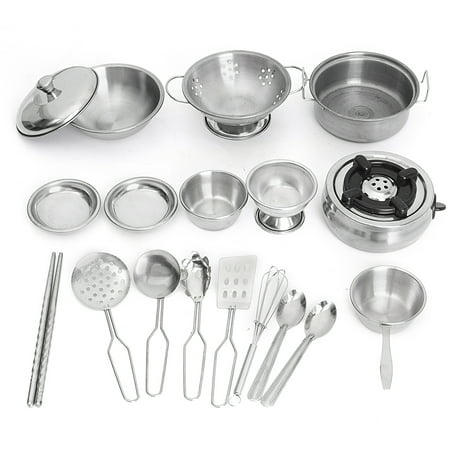 18Pcs Stainless Steel Kitchenware Pretend Role Play Toys Chef Game Tools Set Kitchen Cooker Cooking Pot Pans Toys Kids Children Christmas Birthday