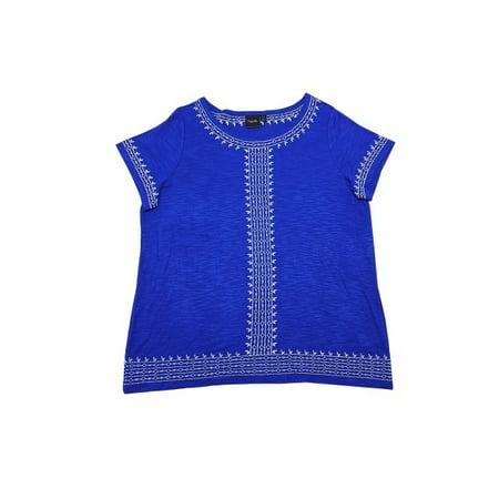 Perry Ellis International, Inc. Rafaella Womens Size Small Short Sleeve Scoop Neck Embroidered Slub Top (Lapiz) Short Sleeve Scoop Neck Top