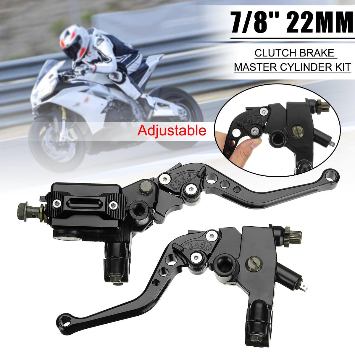 7//8/'/' CNC Black Motorcycle Brake Clutch Master Cylinder Lever Reservoir Set