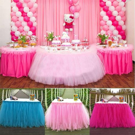 Tulle TUTU Table Skirt Tableware Wedding Party Xmas Baby Shower Birthday Decor (Halloween Games For Toddlers At Birthday Parties)