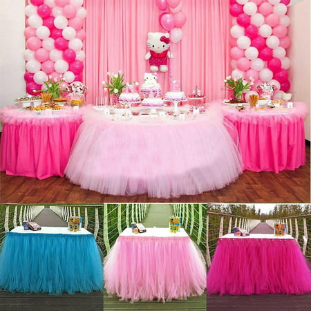 Tulle TUTU Table Skirt Tableware Wedding Party Xmas Baby Shower Birthday Decor (Girl Baby Shower Tableware)