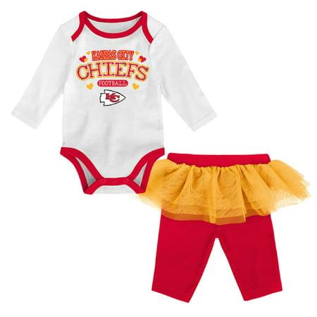 Girls Newborn & Infant White/Red Kansas City Chiefs Tulle Long Sleeve Bodysuit & Pants Set