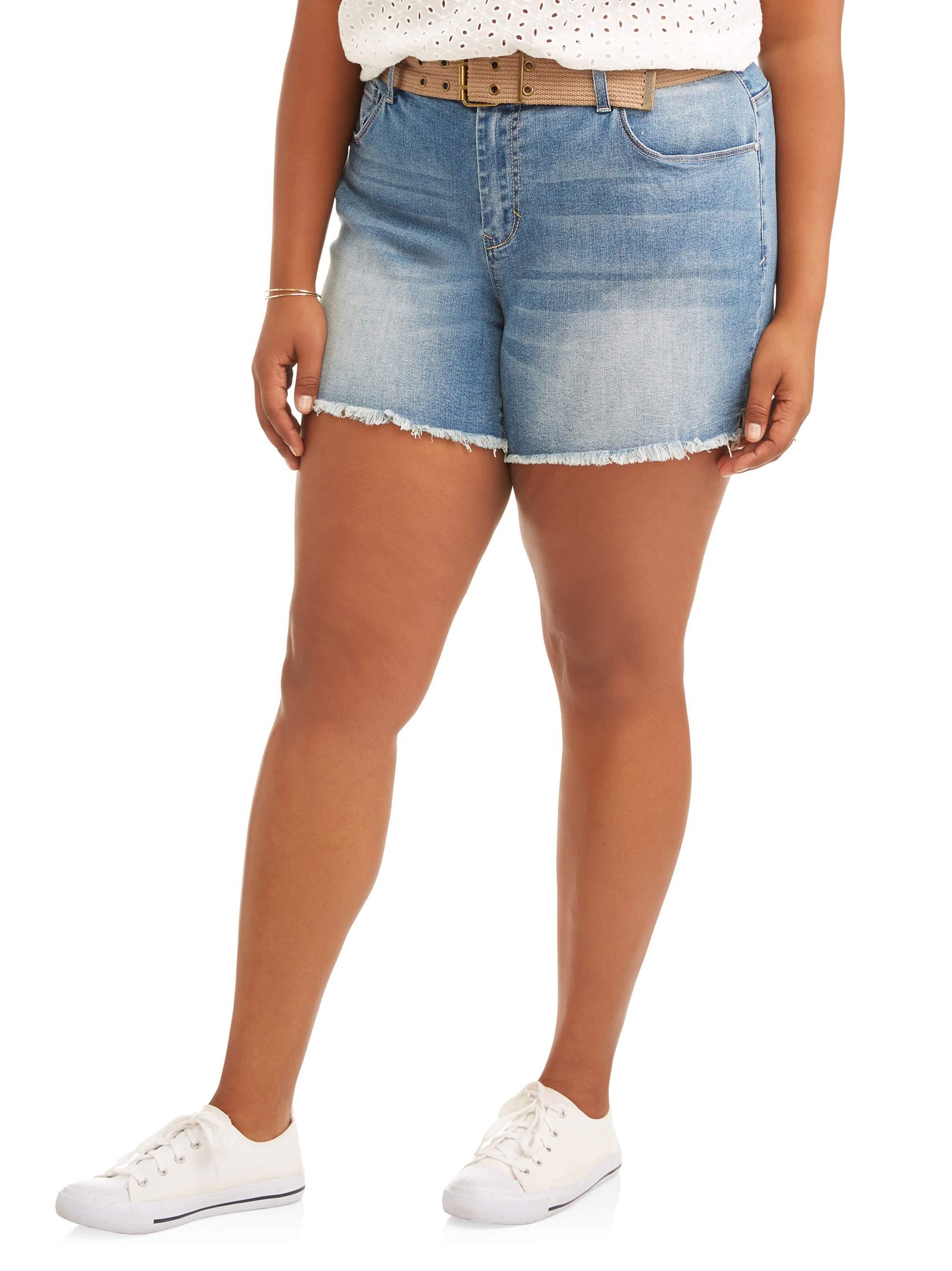 Women's Plus Belted Raw Fray Hem Boyfriend Denim Shorts