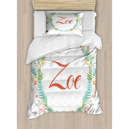 Zoe Twin Size Duvet Cover Set, Blossoming Nature Design Foliage Leaves Silhouette Baby Girl Name Arrangement Wreath, Decorative 2 Piece Bedding Set with 1 Pillow Sham, Multicolor, by