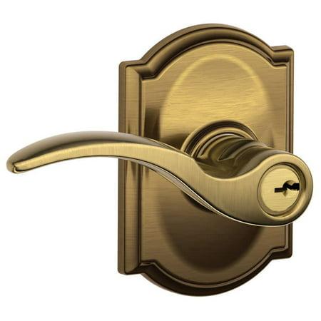 Schlage F51-STA-CAM St. Annes Single Cylinder Keyed Entry Door Lever Set with Decorative Camelot Trim