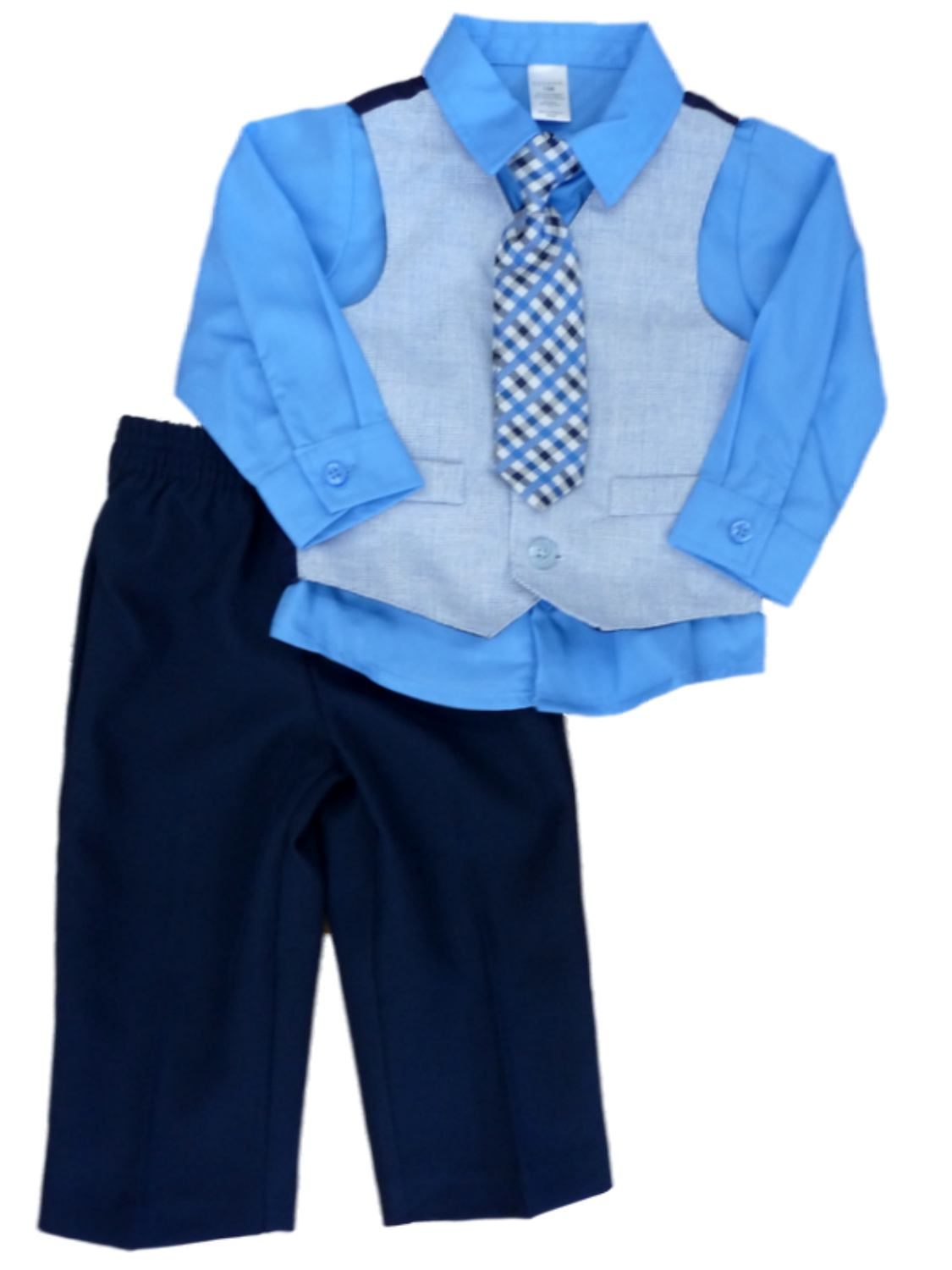 George Infant Toddler Boys 4 Piece Blue Dress Outfit Shirt Vest Tie Slacks