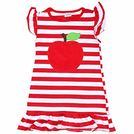Unique Baby Girls Back to School Apple Shirt Dress (2T/XS, Red) - Unique Kid Clothes