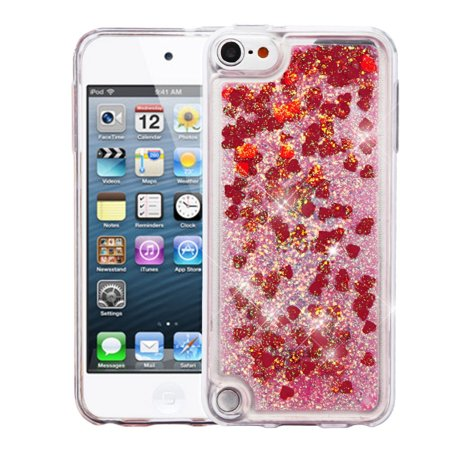 iPod Touch 6th Generation Case, iPod Touch 5th Generation Case, by Insten Hearts Quicksand Glitter Hybrid Hard PC/TPU Case Cover For Apple iPod Touch 5th Gen / 6th Gen
