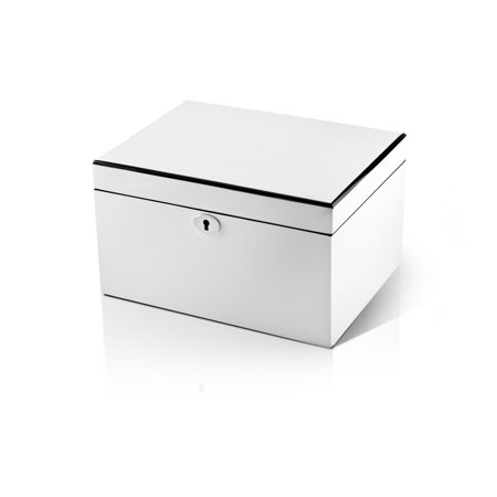 Ultra Sleek Pearl White Lacquer 36 Note Music Jewelry Box - Don't Cry for Me