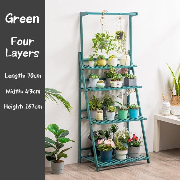 Bamboo 3 4 Layer Folding Plant Stand Shelf Bonsai Display Plant Flower Pot Hanger Holder Rack Walmart Com Walmart Com