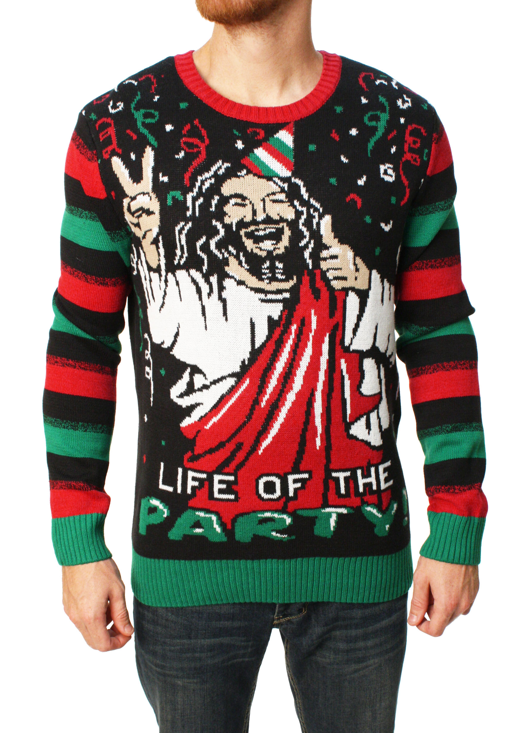 Ugly Christmas Sweater Men\'s Jesus Is The Life Of The Party Sweater ...