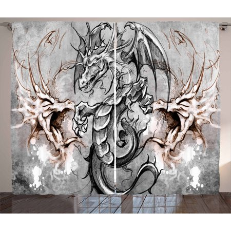 Scary Halloween Window Panels (Dragon Curtains 2 Panels Set, Scary Creature in Sketch Stylized Horror Scene Monster Tattoo Art Gothic Picture, Window Drapes for Living Room Bedroom, 108W X 90L Inches, Grey Umber, by)