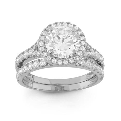 10k Gold 3 4/5ct TGW Round-cut Cubic Zirconia 2-piece Bridal Set Ring 10KT White Gold- Size 9