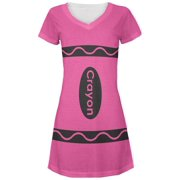 Halloween Crayon Costume Pink Juniors V-Neck Beach Cover-Up Dress