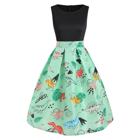 Women Dinosaur Print Sleeveless A Line Dress (Multi Ring Front Dress)